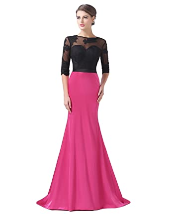 2ef9119d7c4bde Butalways Long Mermaid Hot Pink Prom Dress Gown With Half Sleeves Formal  Evening Dress Party Dress
