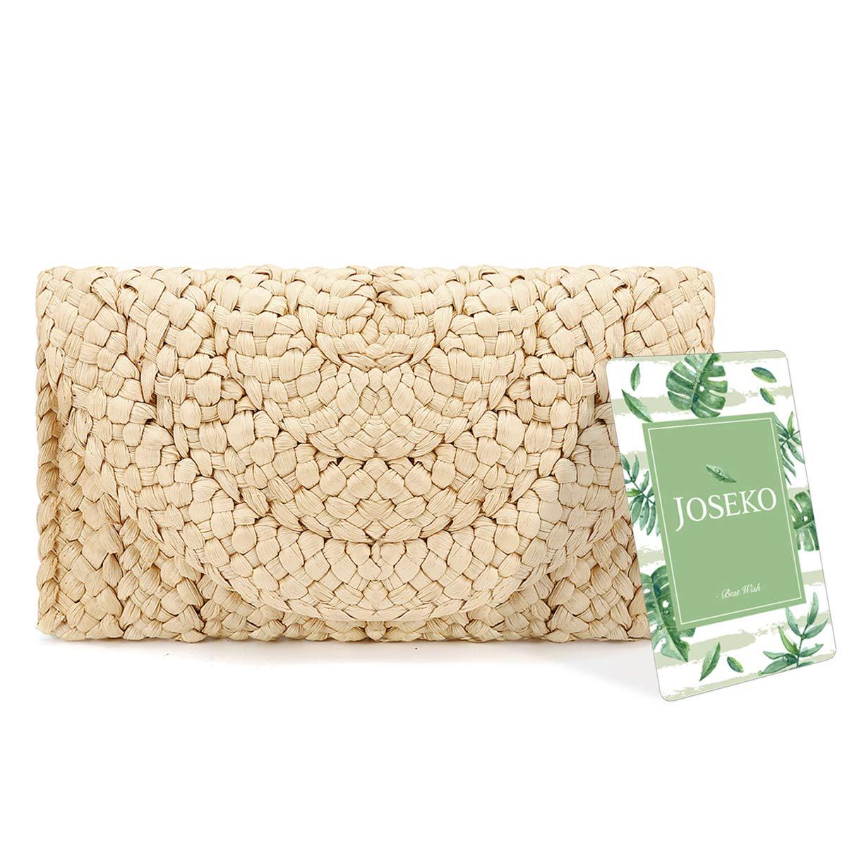 Monedero de Embrague de Paja, JOSEKO Envelope Flat Clutch Mujer Fiesta Bolso Mimbre Bolsa de