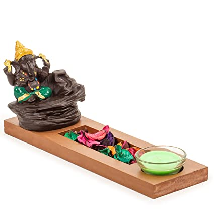 Next Handcrafted Lord Ganesha Smoke Backflow Cone Incense Holder with 10 Incense Cones and Wooden Tray with Artificial Flower and Votive Candle Decorative Showpiece (Green)