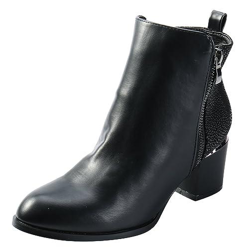 Alexis Leroy Stylische Damen Plateau Stiefelette Knöchelhohe Chelsea Boots mit Blockabsatz