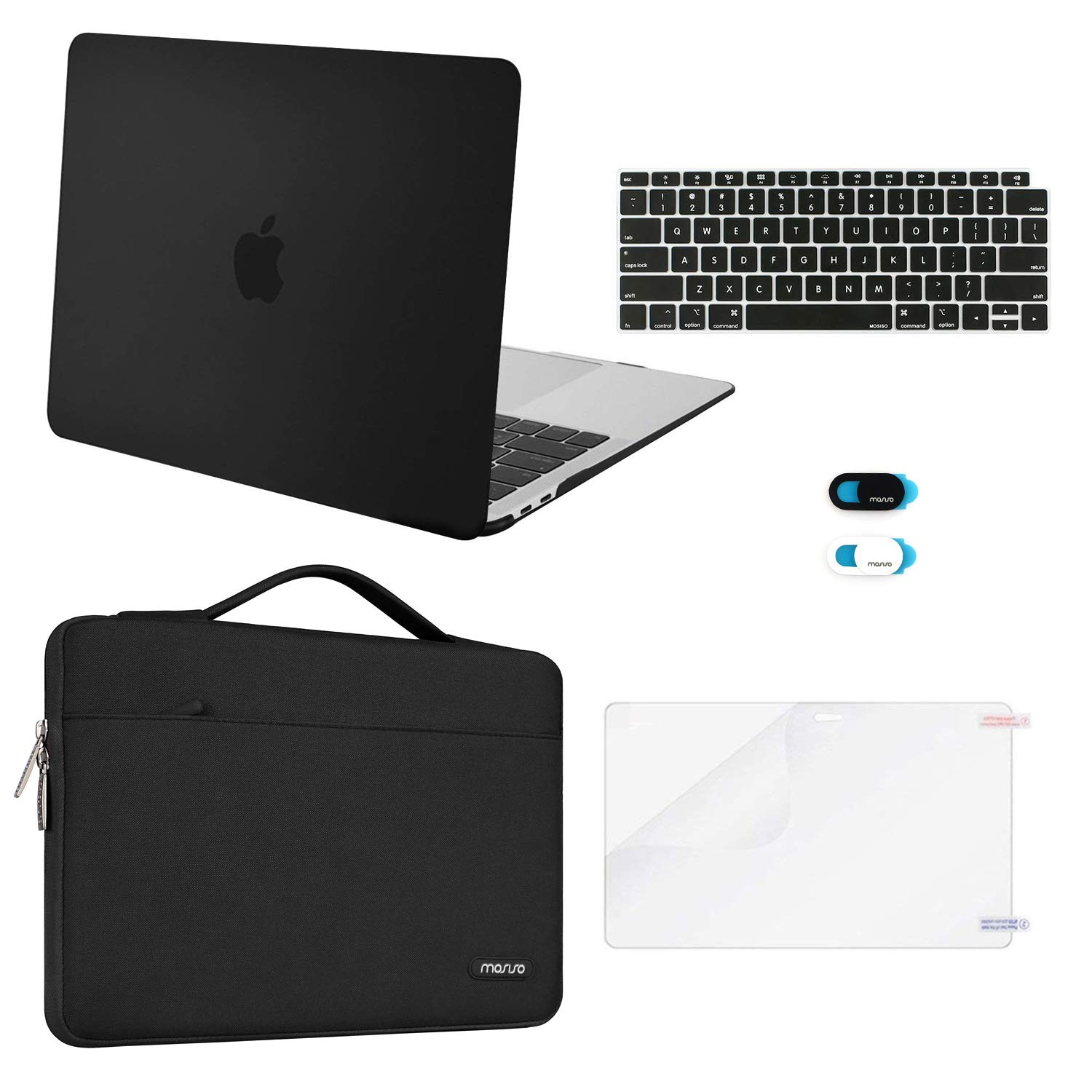 MOSISO MacBook Air 13 inch Case 2019 2018 Release A1932 Retina Display, Plastic Hard Shell & Sleeve Bag & Keyboard Cover & Webcam Cover & Screen Protector Compatible with MacBook Air 13, Black by MOSISO