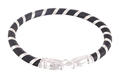 b6f06e642c2 Image Unavailable. Image not available for. Colour: ARSIDH Genuine Black  Rubber 92.5 Pure Sterling Silver Bracelet Kada for Men ...