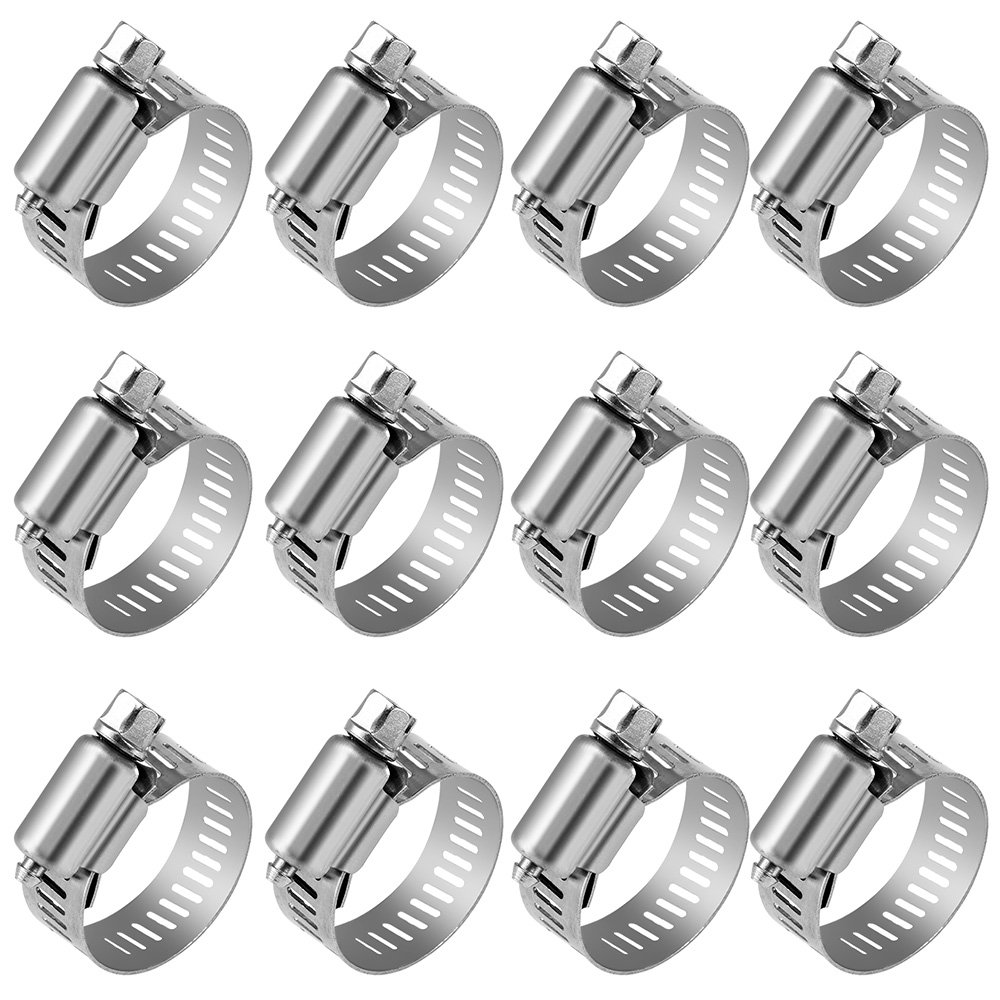 Anpro Pack of 12 Hose Clamp Stainless Steel Clamps Worm-Gear Hose Clamp, Miniature Power-Seal Worm-Drive Kit, 1/2''-1-1/16''(14-27mm)