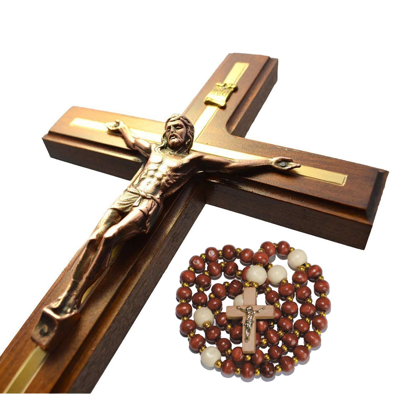 Handmade Crucifix Wall Cross - Wooden Catholic Crucifix - Hanging Crosses for Home Wall Decor - 12 inch
