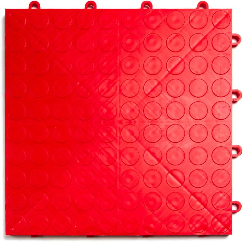 GarageDeck Coin Pattern Alloy 48 Pack Durable Interlocking Modular Garage Flooring Tile