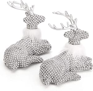 "ARCCI Reindeer Decorations Christmas Lying Deer Figurines, 7.5"" x 6.3"" Silver Reindeer Figure for Table top Shelf Office Desk Holiday Decor - Pack of 2"