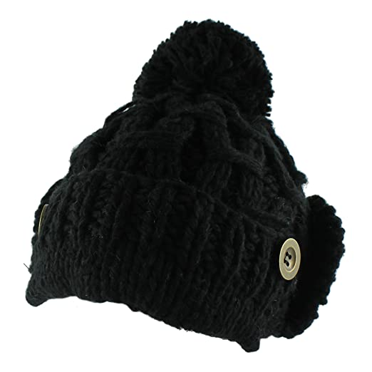 38f69dd1563 Morehats Ear Muff Beanie with Pom Pom Crochet Knit Beret Winter Ski Warm Hat  - Black
