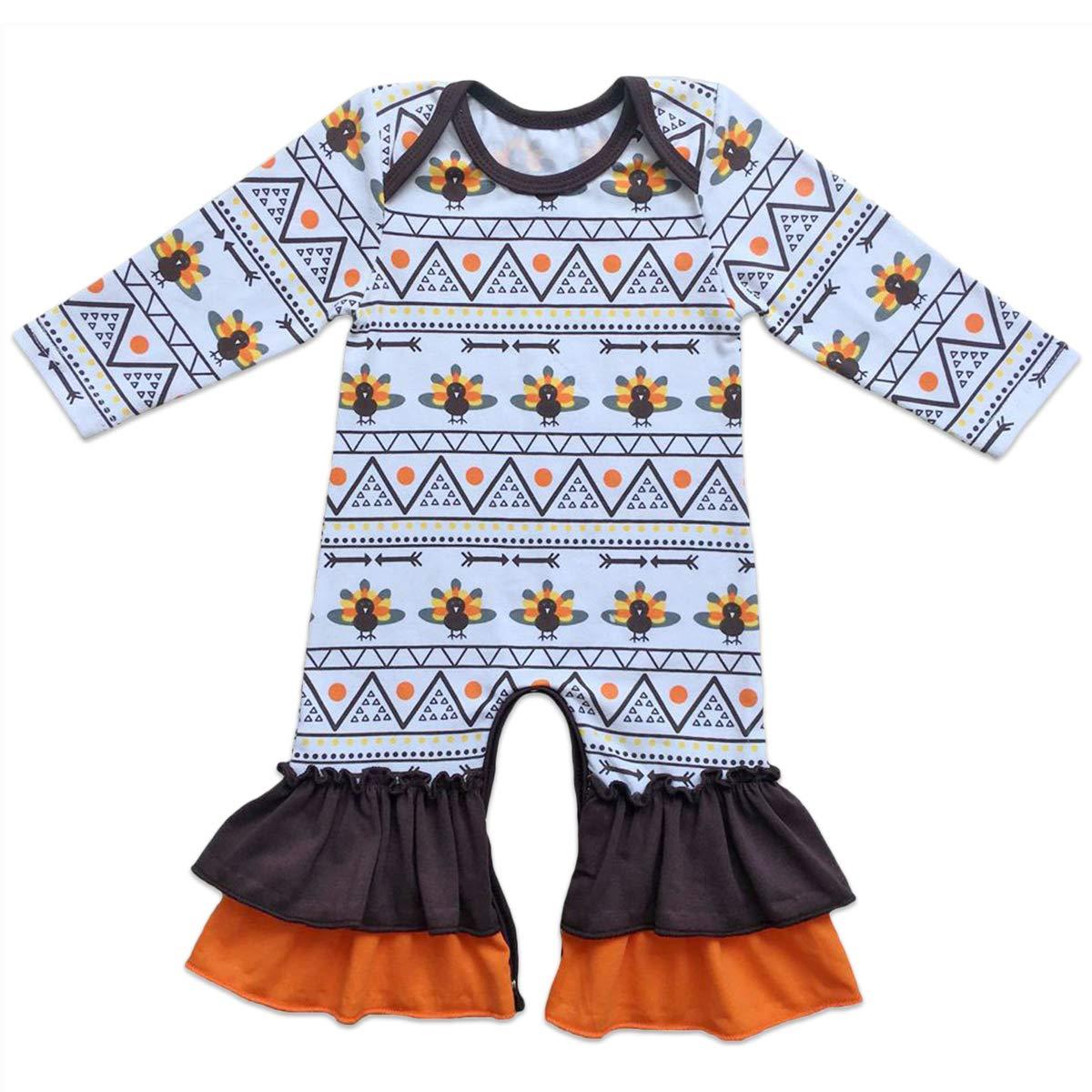 Newborn Baby Girls Icing Ruffle Jumpsuit Pants One Piece Romper Toddler Kids Christmas Striped Pajama Nightwear Sleepwear Long Sleeve Floral Bodysuit Pyjamas Pjs Homewear Outfit Birthday Party Clothes