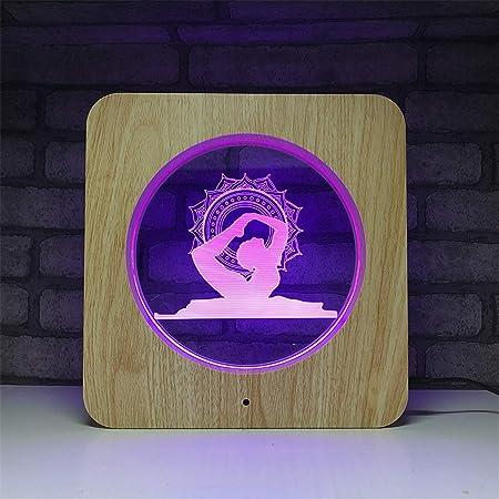 USB alimentado decorativo Yoga Ilusión 3D Madera Luz ...