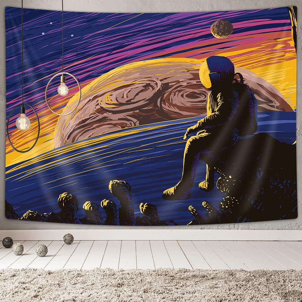 NYMB Astronaut Tapestry, Space Tapestry Wall Decor, Astronaut Men with Stars Planets Mars Earth Wall Hanging Tapestry, Galaxy Trippy Tapestris Wall Art for Bedroom Living Room Collage Dorm, Home