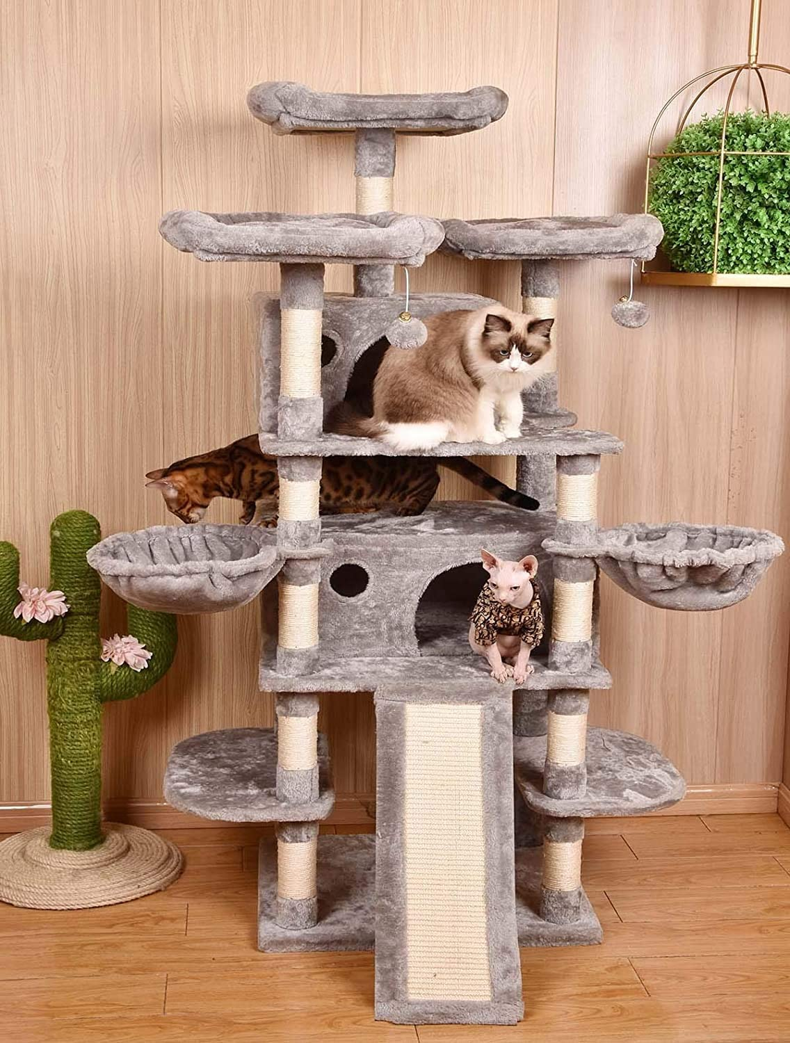 7. Amolife 68 Inch Multi-Level Cat Tree King/X-Large Size Cat Tower