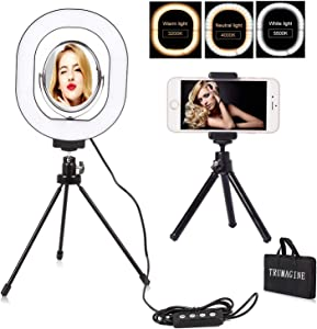 LED Selfie Ring Light 7×6'' with Tripod for Makeup/YouTube Video/Live Stream/Vlogs,USB Plug Mini LED Camera Light with Cell Phone Holder Portable Desktop Lamp Lighting with 3 Light Modes(Oval)