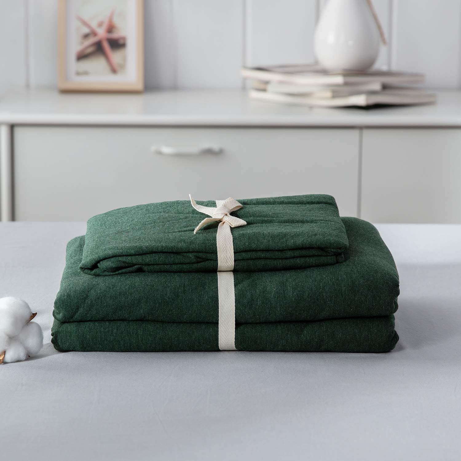 LIFETOWN Green Duvet Cover, Jersey Knit Cotton Duvet Cover Set 3 Pieces, Simple Solid Design, Super Soft and Easy Care (Full/Queen, Dark Green) by LIFETOWN (Image #8)