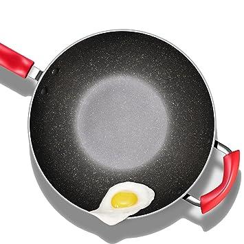 Recipientes para Horno Pan Antiadherente Pan Wok Familia Wok Cocina de inducción Estufa de Gas Sin