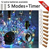 SFUN Wine Bottle Lights with Cork- 5 Dimmable Modes with Timer 10 Pack-12 Replacement Battery Operated LED Silver Copper…