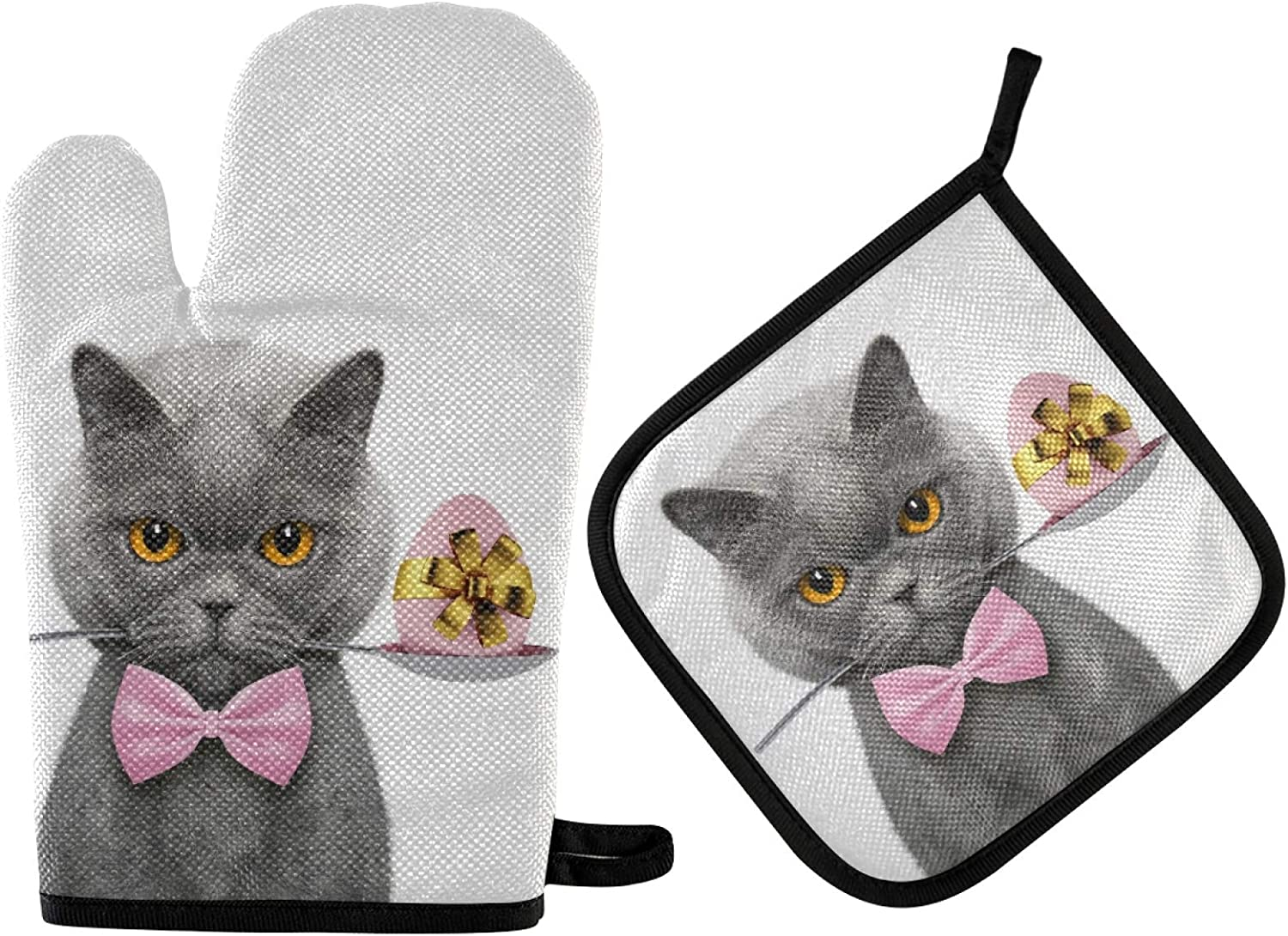 Funny Cat with Spoon Oven Gloves and Potholder , Heat-Resistant Oven Gloves, for Grilling, Cooking, Baking, Kitchen(2 Piece Set)