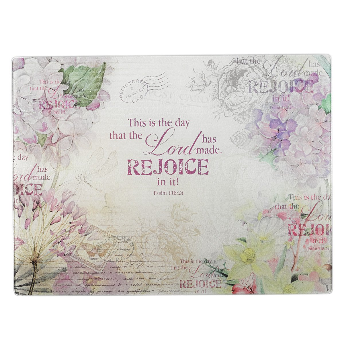 Floral Inspirations Collection Glass Cutting Board / Trivet (Large: 15 3/4 x 11 7/8) - Psalm 118:24