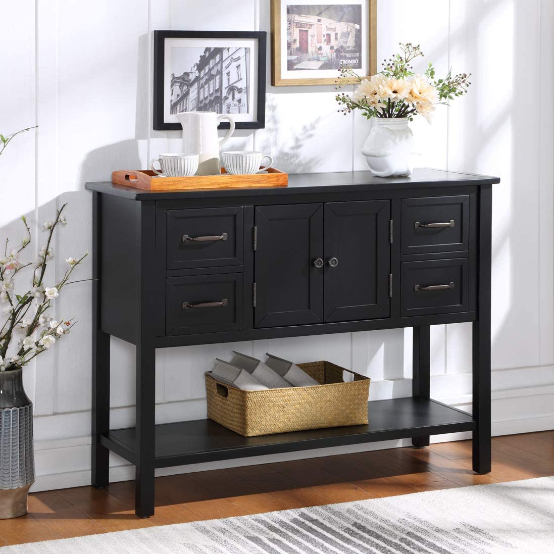 P PURLOVE Console Table Buffet Table Wood Buffet Cabinet with Drawer and Bottom Shelf, Sideboard Table for Living Room Kitchen