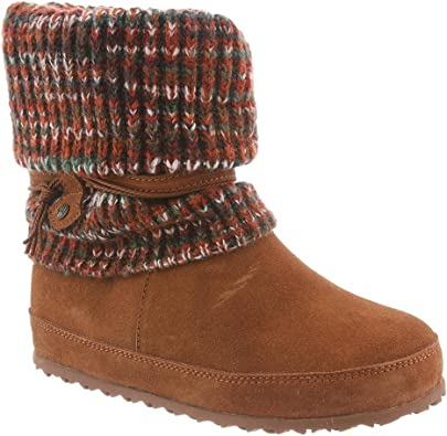 Bearpaw Womens Cosima Suede//Knit Mid-Calf Suede Boot