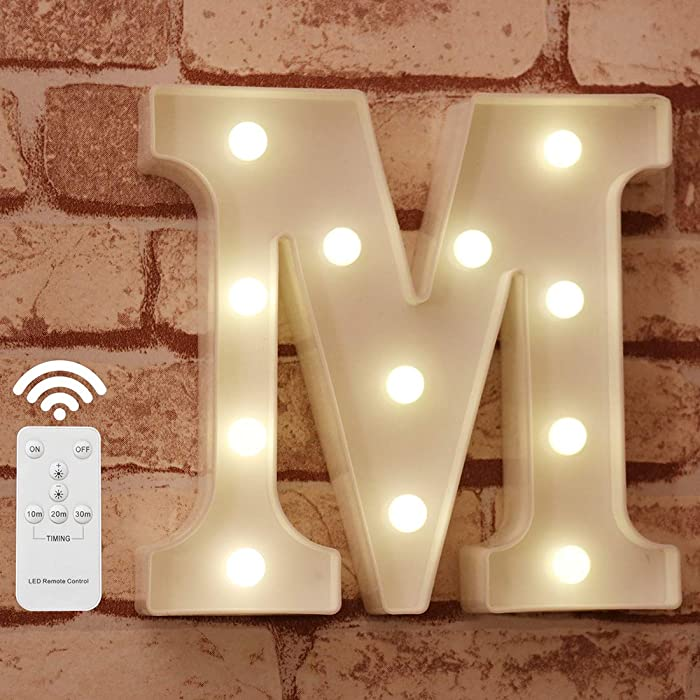 Pooqla LED Marquee Letter Lights Alphabet Light Up Sign with Wireless Timer Remote Control Dimmable for Wedding Home Party Bar Decoration - RC - M