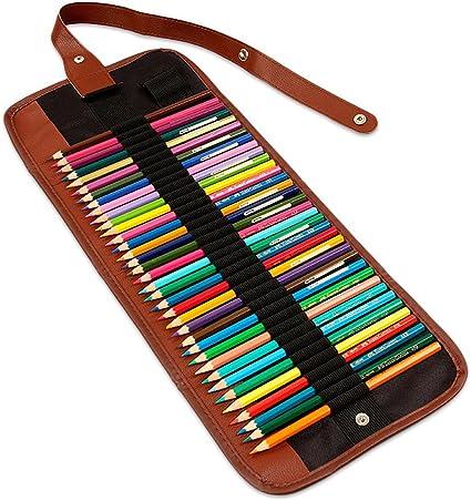 Chengsan - Estuche enrollable de lona para lápices de colores 60 Slots: Amazon.es: Oficina y papelería
