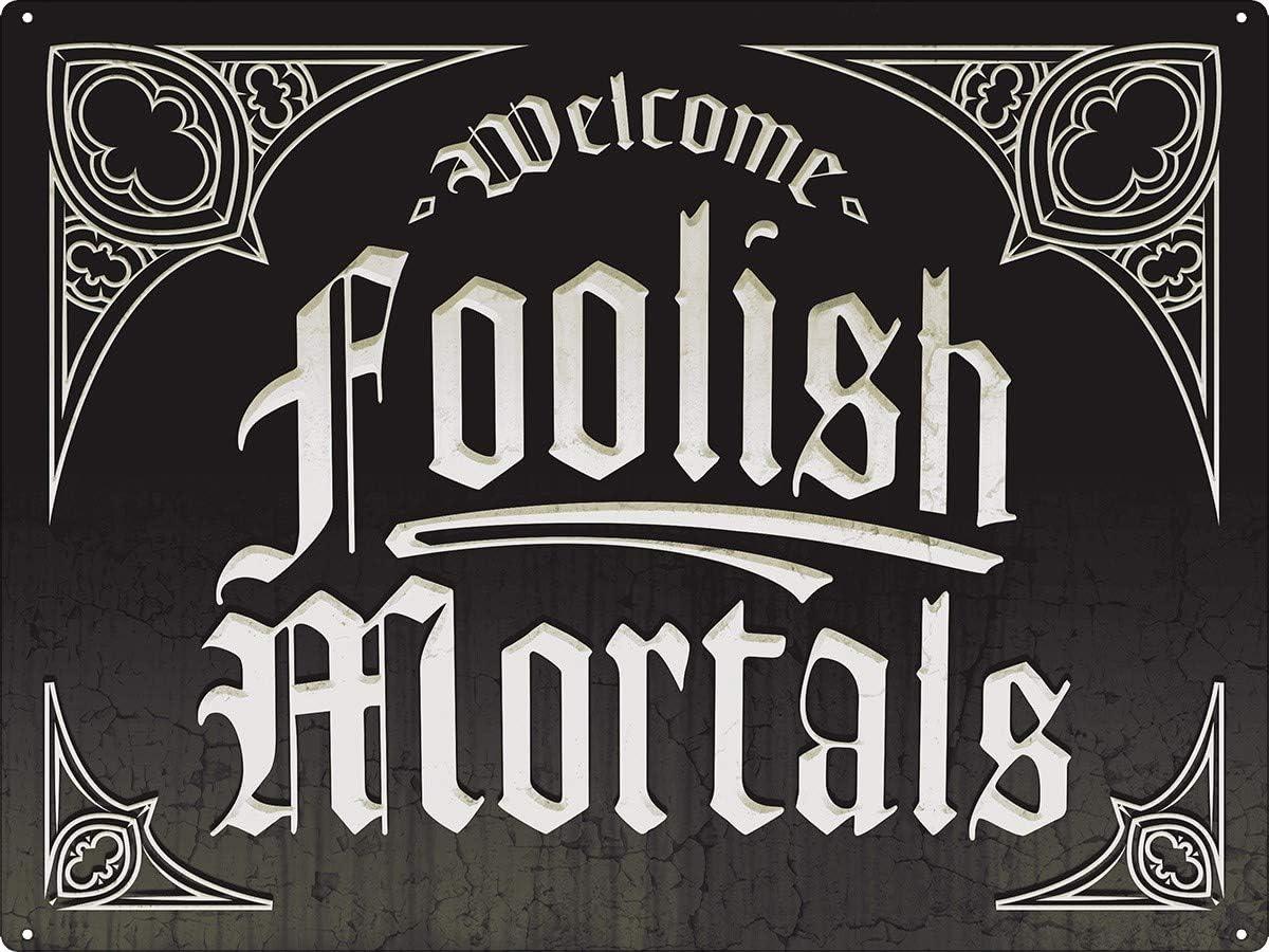 HomDeo Vintage Metal Signs Welcome Foolish Mortals, Halloween Tin Sign Home Farm Indoor Cafe 12