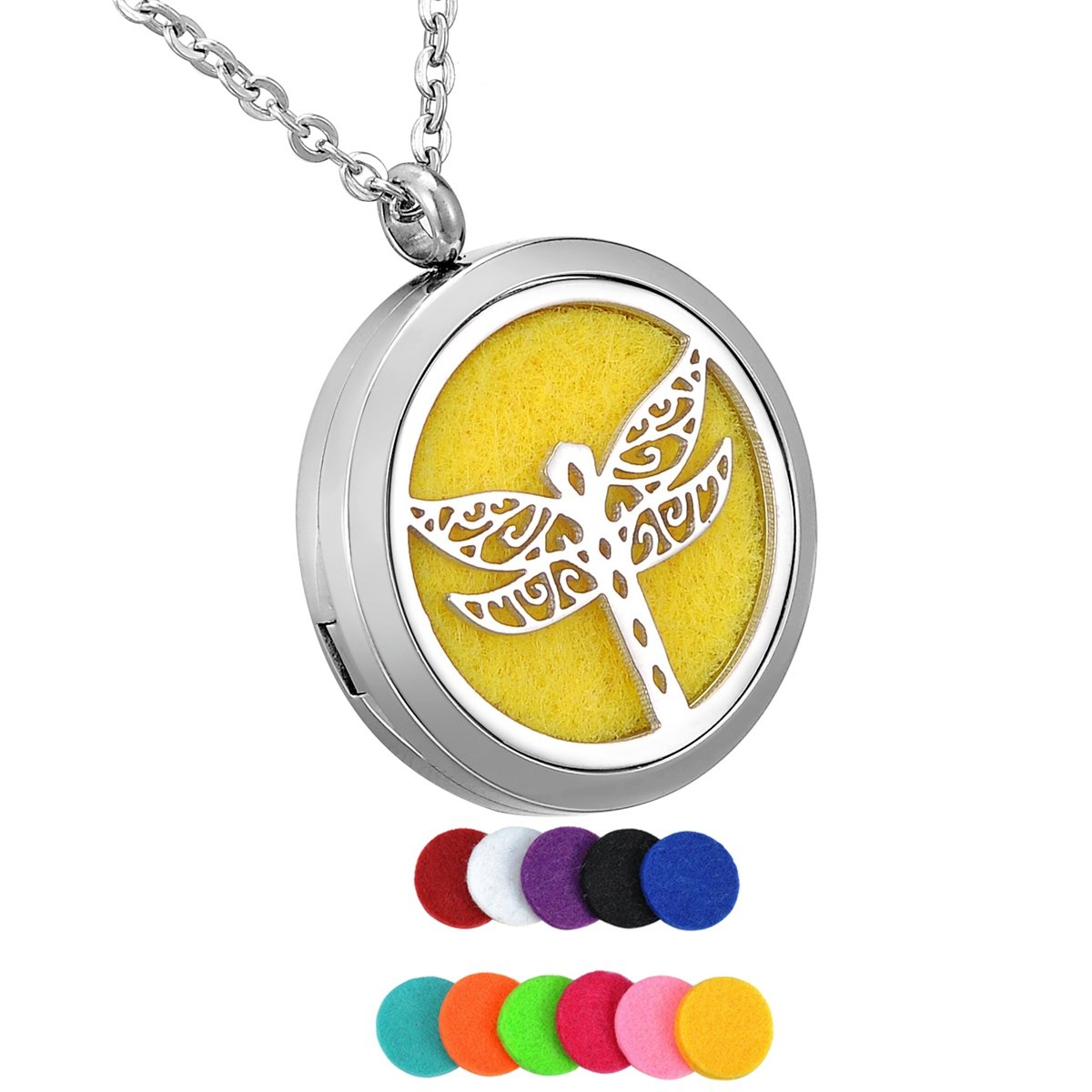 HooAMI Aromatherapy Essential Oil Diffuser Necklace - Stainless Steel Locket Pendant TY BETY111416