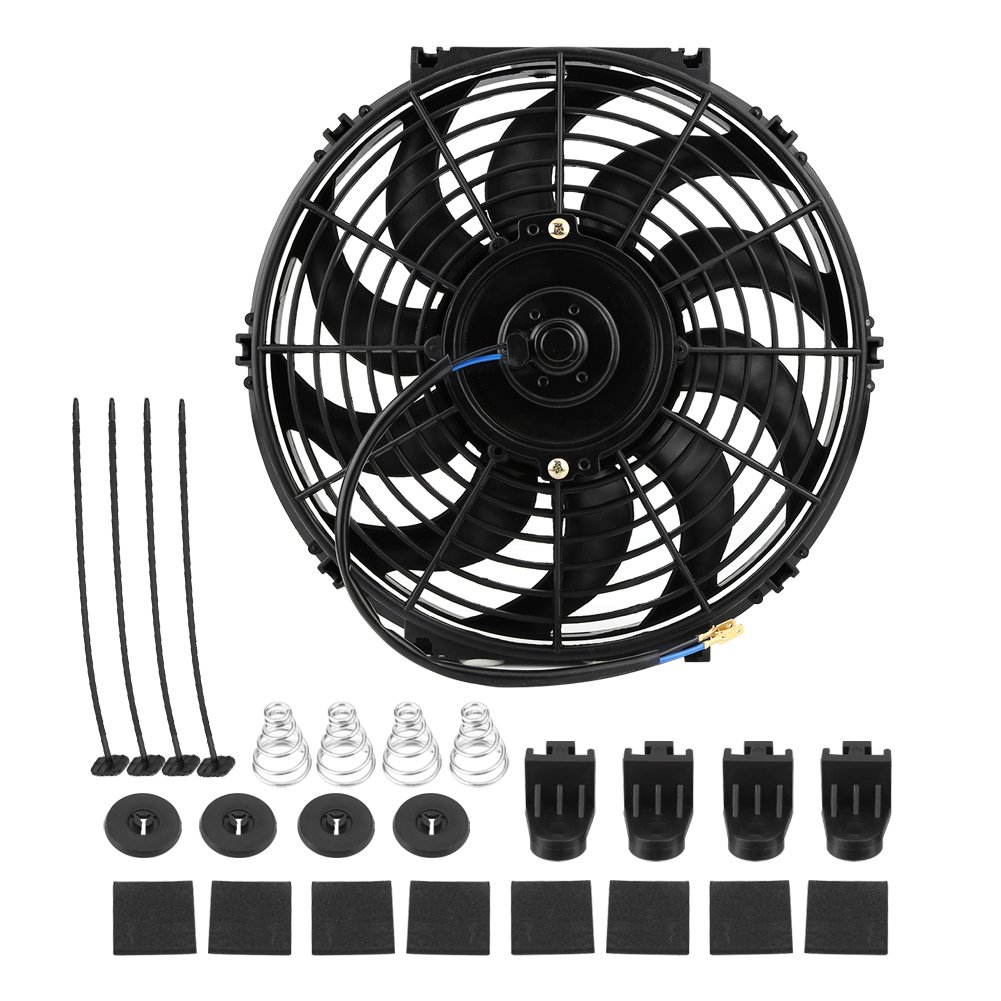 Car Cooling Fan, 12 V 80 W Universal Electric Radiator Motor Cooling Fan with 10 Curved Blades for Car Camping Car with Mounting Kit zerone