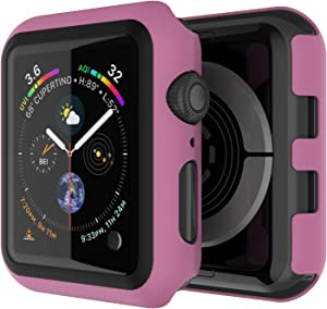 Punkcase for Apple Watch 44mm Bumper Case W/Build in Screen Protector   9H Hardened Tempered Glass iWatch 5 Cover   Full Body Protection   Ultra Slim Design for Apple iWatch Series 5/4 (Pink)