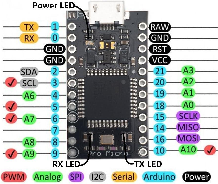 KOOKYE - Tablero de microplaca ATmega32U4 para Arduino Leonardo 3 unidades, 5 V/16 MHz, 2 filas, sustituye a ATmega328 Arduino Pro Mini: Amazon.es: Electrónica