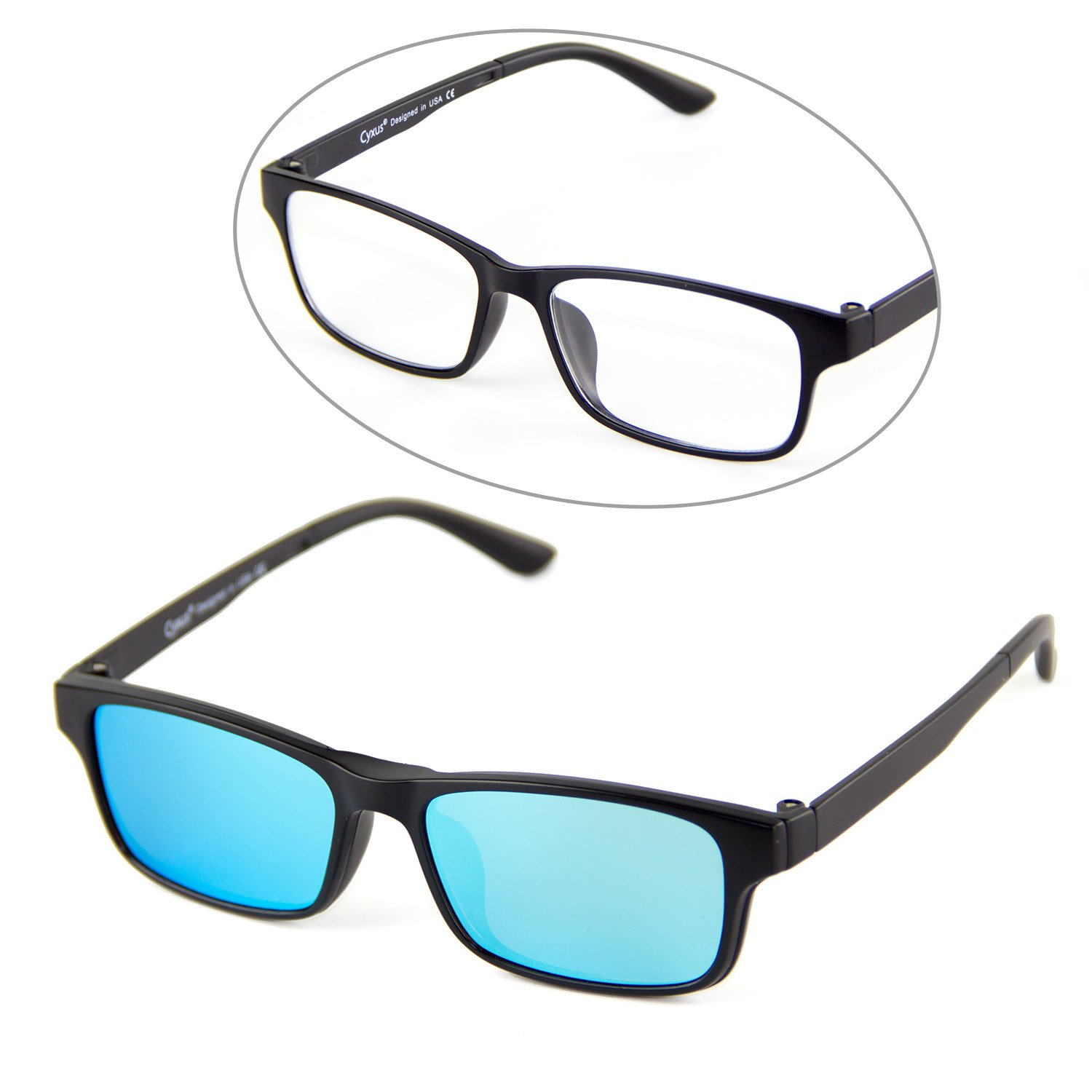 Cyxus Blue Light Blocking Glasses with Clip On Polarized Sunglasses, Rectangular Frame Men/Women (Blue Flash)
