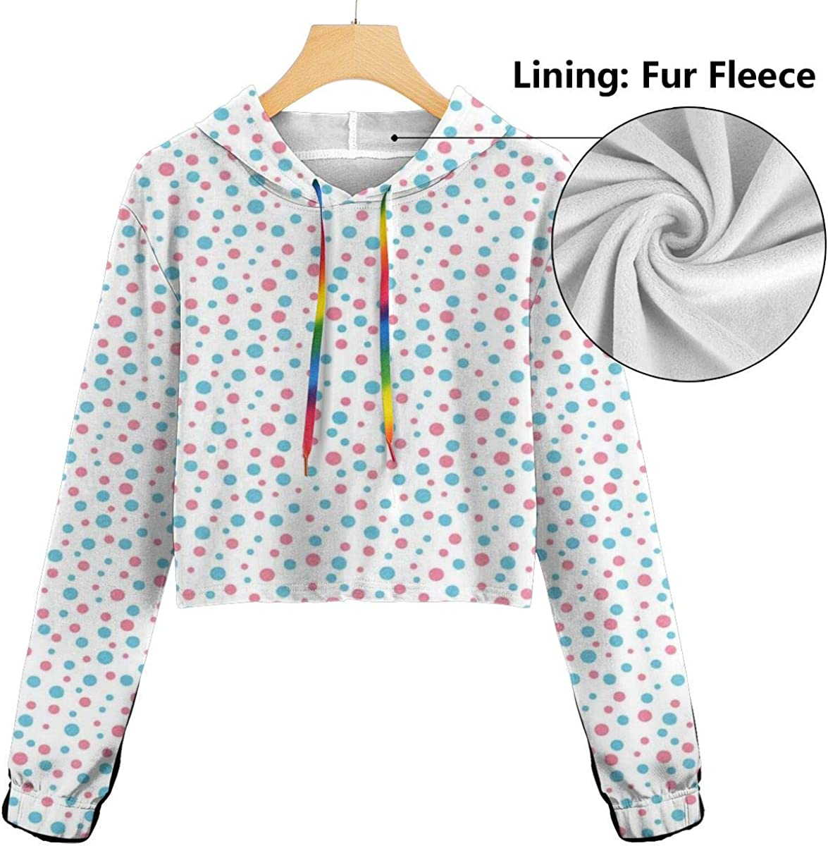 Womens Cropped Hoodie,Geometric Simplicity Pattern with Irregular Rounds Sweet Spots,S-XL