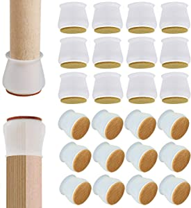 24 PCS Chair Leg Floor Protectors, Fit Diameter 1-3/16 to 1-3/4 Inches Chair/Table Feet, Elastic Silicone Chair Leg Cap Round Furniture Protection Cover with Felt Pad, Prevent Scratches and Noise