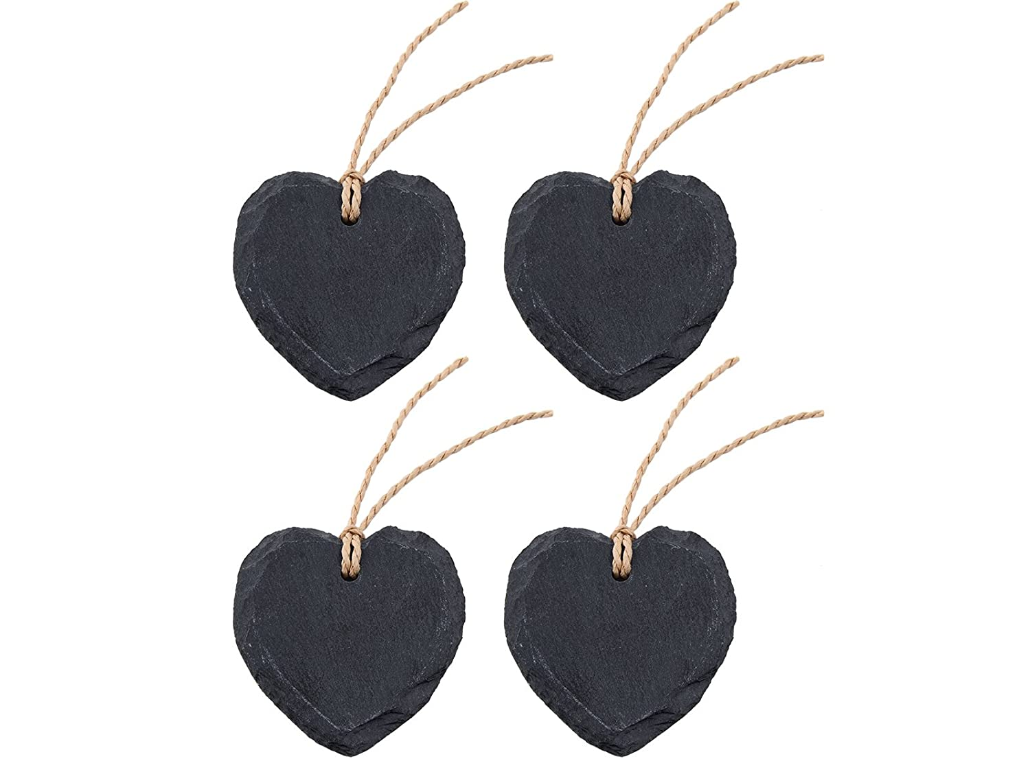 4-Piece Set of Heart-Shaped Slate Name Tags (with Chalk) by Creative Tops, 7 x 6.5 cm (2¾