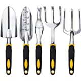 FEBSNOW Garden Tool Set - 5 Pieces Heavy Duty Gardening Hand Tools Kit Include Garden Trowel, Garden Rake, Spade Shovel, Weed