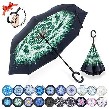 Paraguas plegable reverso con manos en forma de C Mango - Protección inversa a prueba de