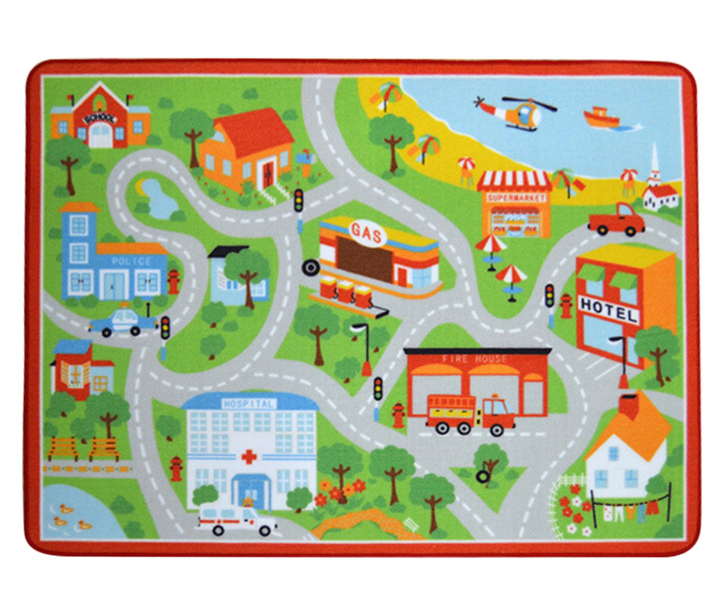 Tebery Kids Interested Play Carpet, Comfortable Urban Traffic Map Play Car Rug - 52'' x 39''