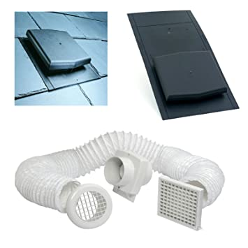 Slate Roof Tile Vent   Inline Extractor Shower Fan Kit   Ventilation  Bathrooms. Slate Roof Tile Vent   Inline Extractor Shower Fan Kit