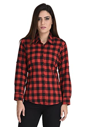 354103c7 Stylee Casual Red Black Check Shirt For Girl Free Size: Amazon.in: Clothing  & Accessories