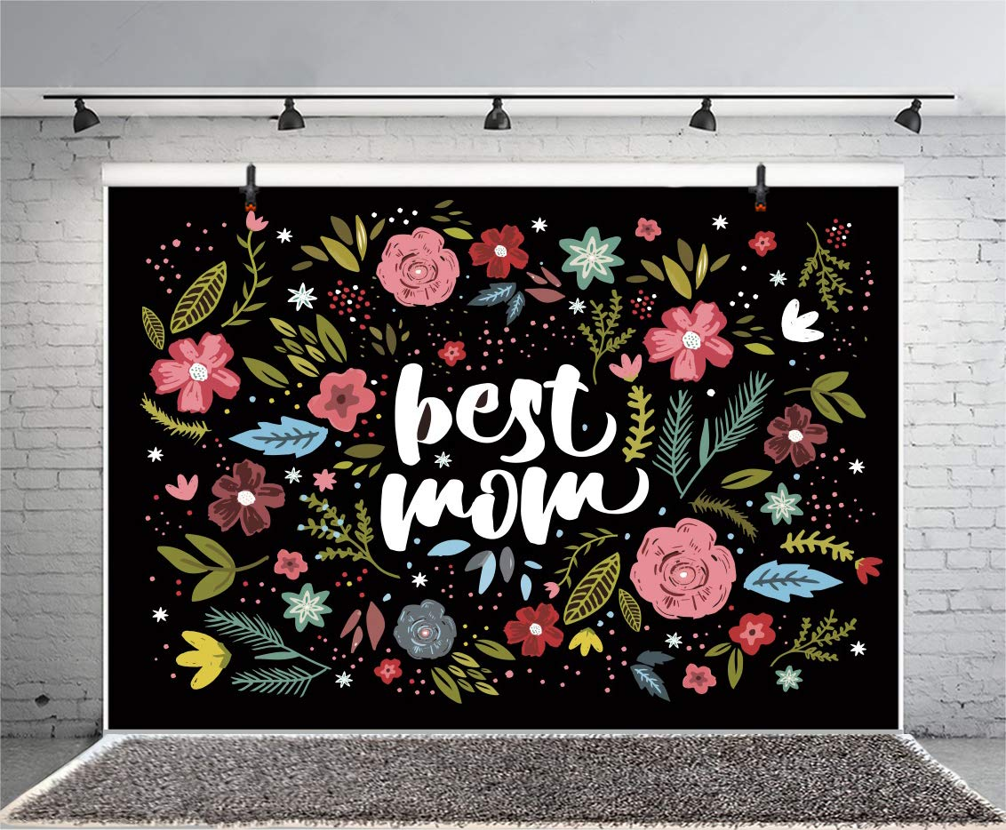 Leowefowa 10x8ft Best Mom Photo Backdrop Spring Flowers Illustration Black Backgroud Happy Mother's Day Photography Backgrouds Mother Birthday Decoration Banner Portrait Shooting Props by Leowefowa