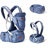 SUNVENO Baby Hipseat Ergonomic Baby Carrier Soft Cotton 6 in 1 Safety Infant Newborn Hip Seat for Home, Outdoor, Travel, 6-36