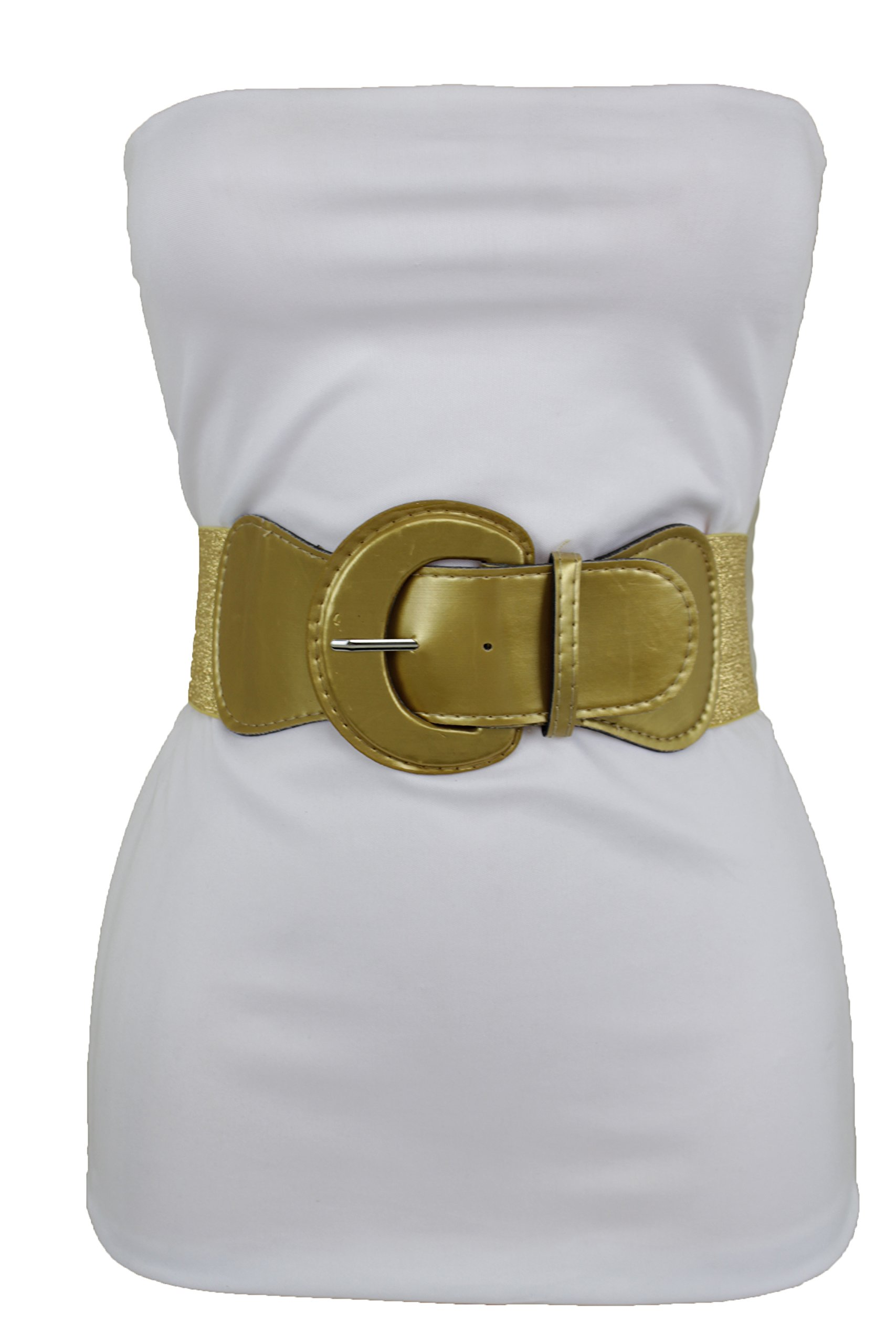 TFJ Women Elastic Waistband Fabric Fashion Wide Belt Hip High Waist Gold Big Buckle (Gold M-XL 32''-45'')