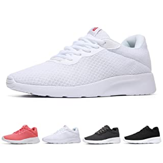 MAIITRIP Womens Running Shoes Fashion Gym Ladies Nursing Workout Jogging Walking Flats Breathable Athletic Sneakers All White Size 8