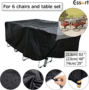 ESSORT Patio Furniture Covers, Extra Large Outdoor Furniture Set Covers Waterproof, Rain Snow Dust Wind-Proof, Anti-UV, Fits for 4-6 Seats