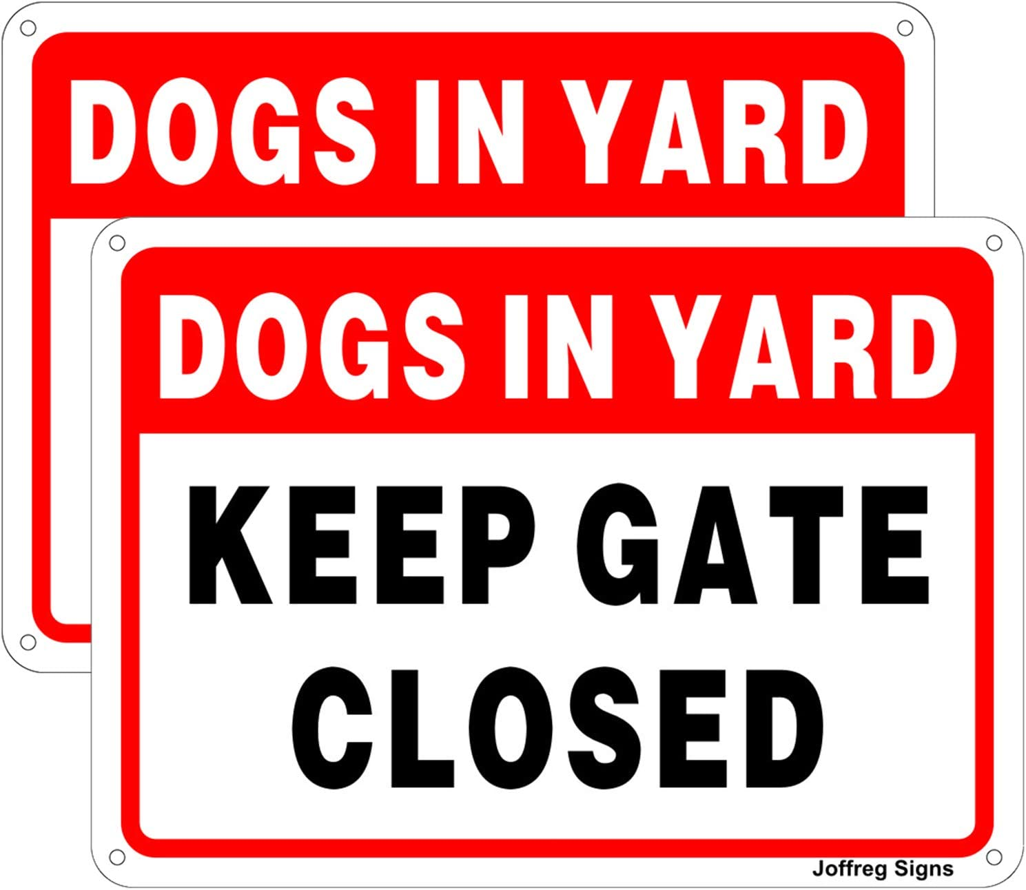 Joffreg 2 Pack Keep Gate Closed,Dogs in Yard Sign,10 x 7 Inches,Reflective Aluminum