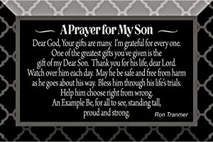 """Son Prayer Glass Plaque with Inspiring Quotes 4""""x6"""" - Classic Horizontal Tabletop Decoration   Easel Back   A Prayer for My Son - Dear God, Your Gifts are Many, I'm Grateful for Every one"""