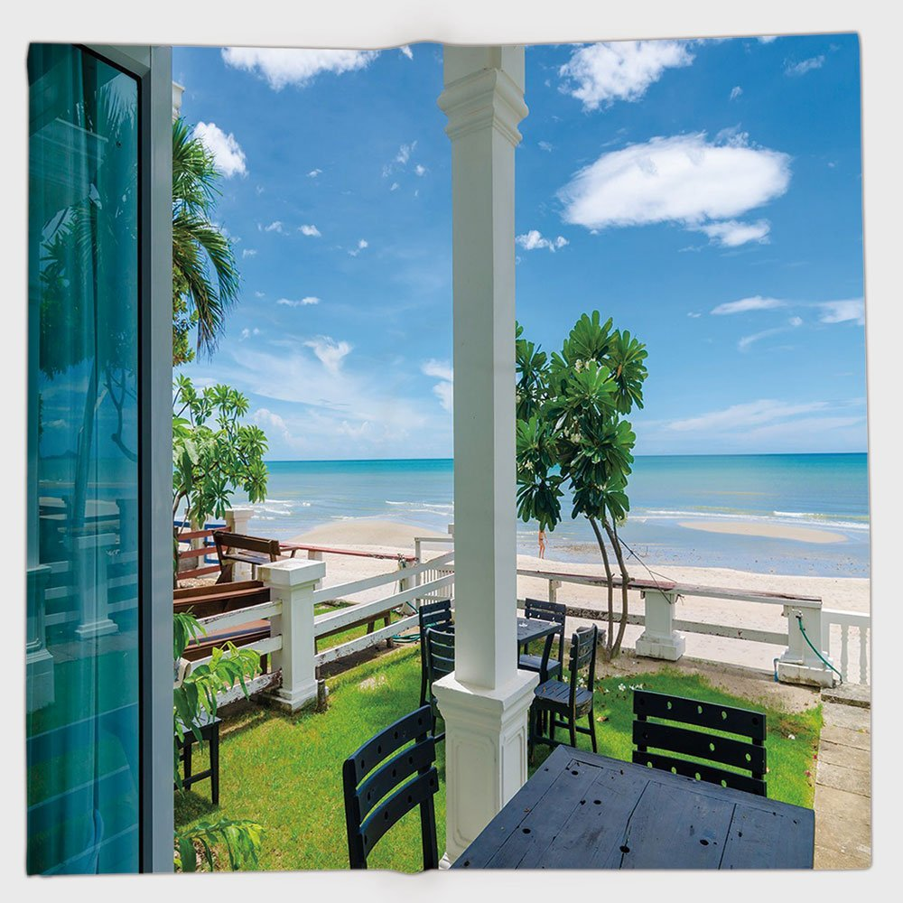 Cotton Microfiber Hand Towel,Coastal Decor,Outdoor Wood Chairs and Tables by the Sea Trees Greenery Summer Villa,Green Blue White,for Kids, Teens, and Adults,One Side Printing