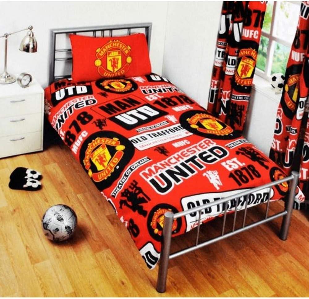Manchester United Reversibe parche para cama individual de funda nórdica y funda de almohada y juego de