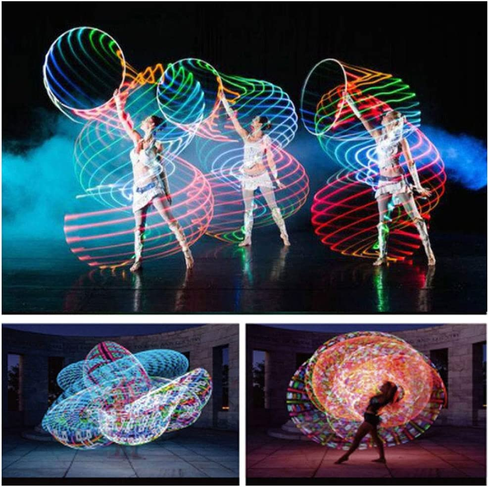 Hankyky LED Glow Sport Hoop for Adults Kids Multicolor Sports Hoop Loose Weight Bodybuilding Fitness Hoops Toy Multiple Light Up Led Sports Hoop