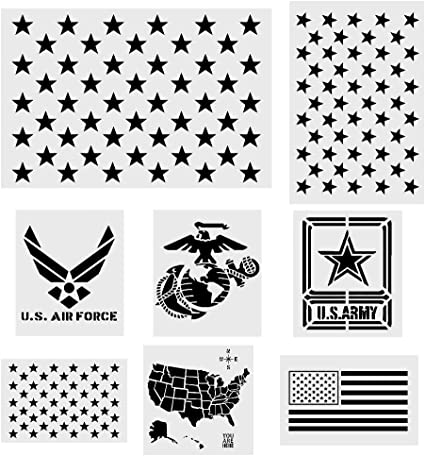 Us Map Marine Corps Amazon.com: Koogel 8 Pcs Plastic Stencil Template+1 Mysterious
